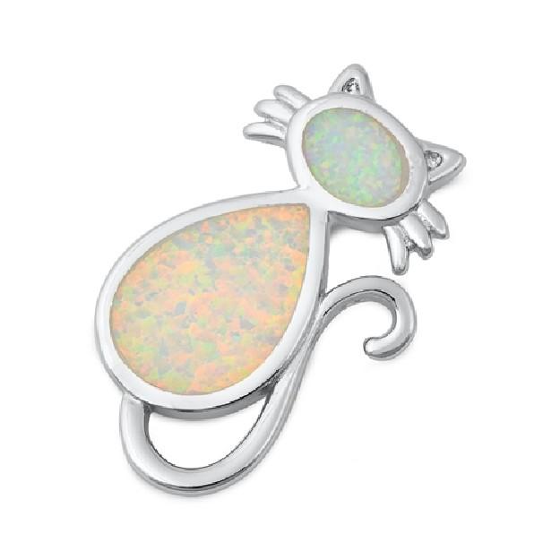 Pendentif Chat orné d'Opale blanche en Argent 925