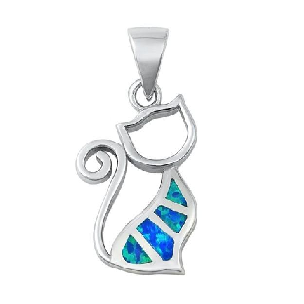 Pendentif Chat orné d'Opale bleue en Argent 925