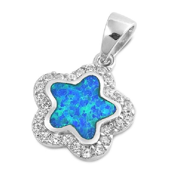 Pendentif Fleur orné d'Opale bleue en Argent 925
