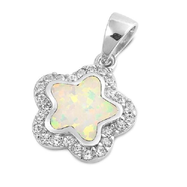 Pendentif Fleur orné d'Opale blanche en Argent 925