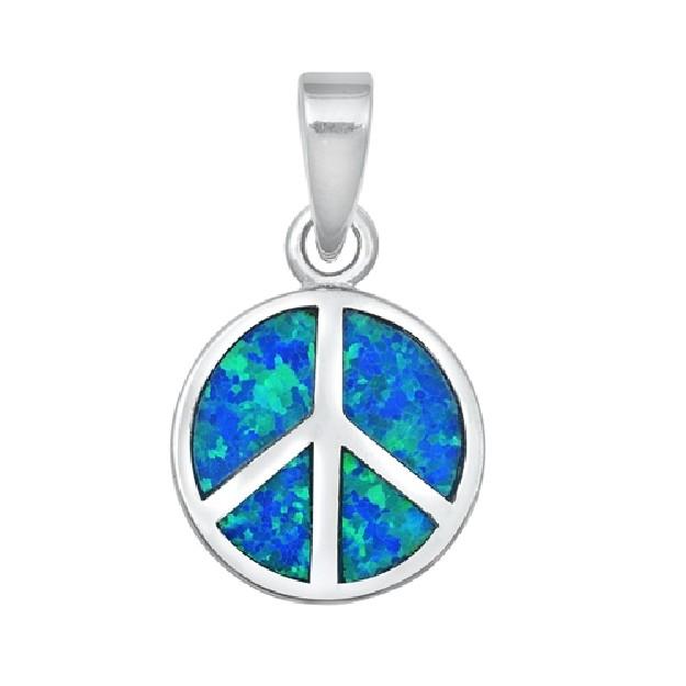 Pendentif Symbole Paix et Amour orné d'Opale bleue en Argent 925