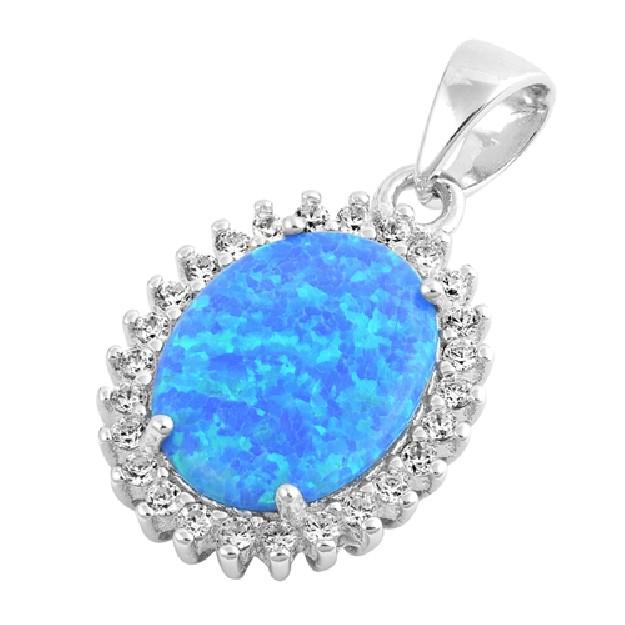 Pendentif Goutte orné d'une Opale Bleue Argent 925
