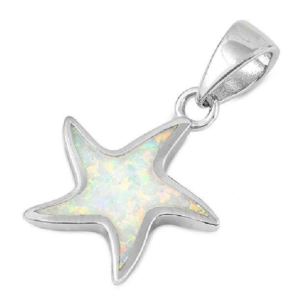 Pendentif Étoile de mer orné d'une Opale blanche en Argent 925