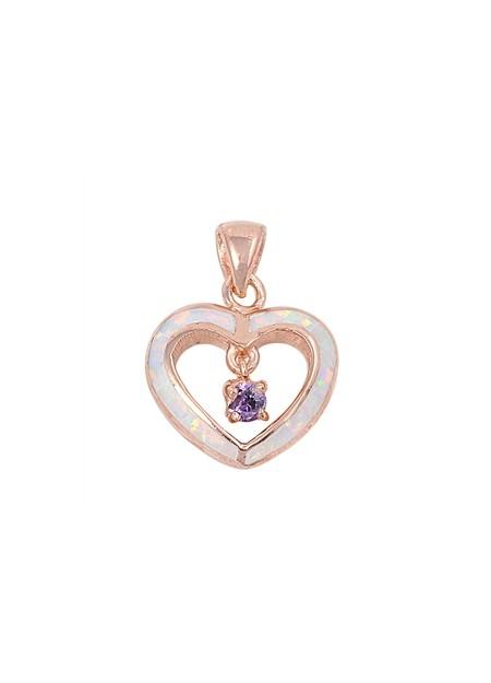 Pendentif Cœur orné d'Opale blanche et d'une Améthyste violette en plaqué Or rose