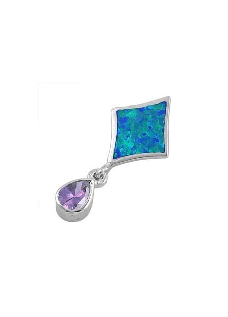 Pendentif Losange orné d'une Opale bleue avec une Améthyste violette en Argent 925