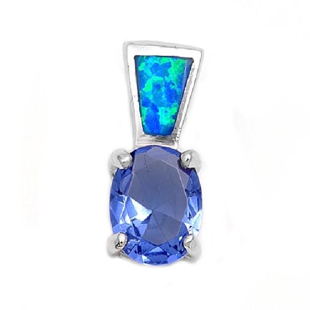 Pendentif orné d'une Opale bleue avec un Saphir bleu en Argent 925