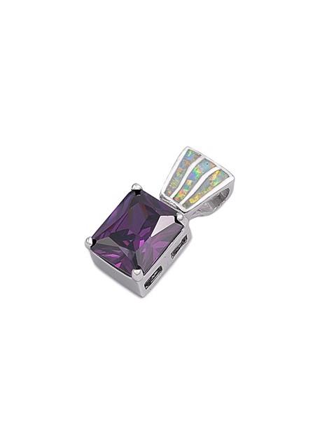 Pendentif orné d'Opale et d'une Améthyste violette en Argent 925