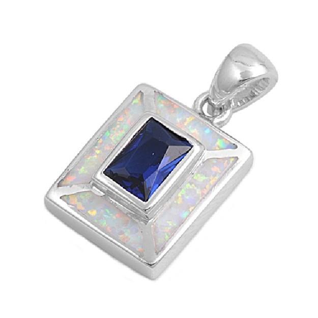 Pendentif carré orné d'Opale blanche avec au centre un Saphir bleu en Argent 925
