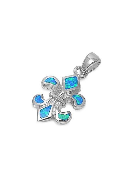 Pendentif Fleur de Lys orné d'Opale bleue en Argent 925