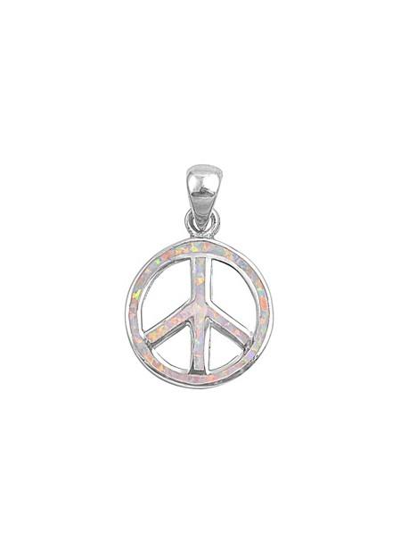 Pendentif Peace and Love orné d'Opale rose en Argent 925