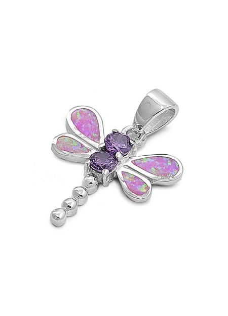 Pendentif Libellule orné d'Opale blanche et 2 Améthystes violettes en Argent 925
