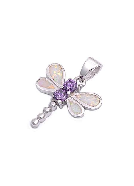 Pendentif Libellule orné d'Opale et 2 Améthystes violettes en Argent 925