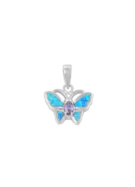 Pendentif Papillon orné d'Opale bleue d'une Améthyste violette en Argent 925