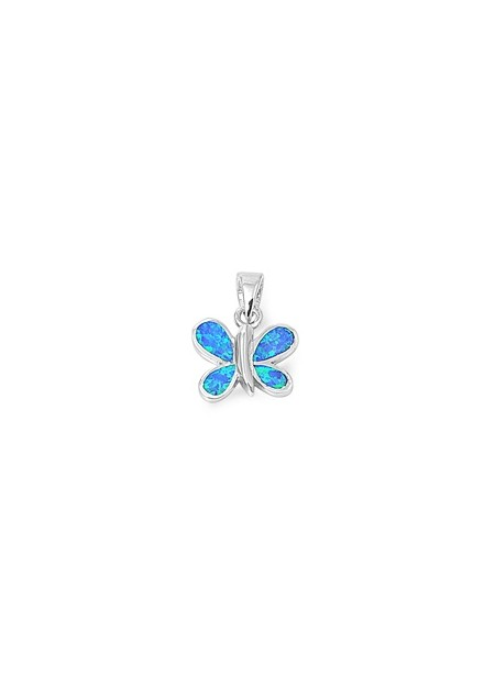 Pendentif Papillon orné d'Opale bleue en Argent 925