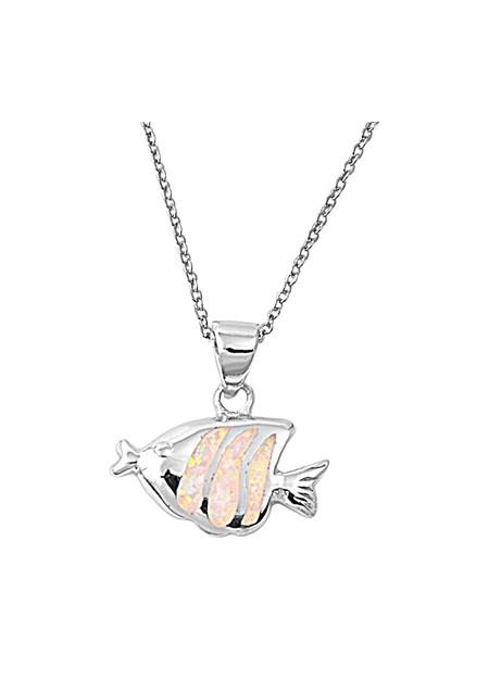 Chaine avec Pendentif Poisson orné d'Opale blanche en Argent 925