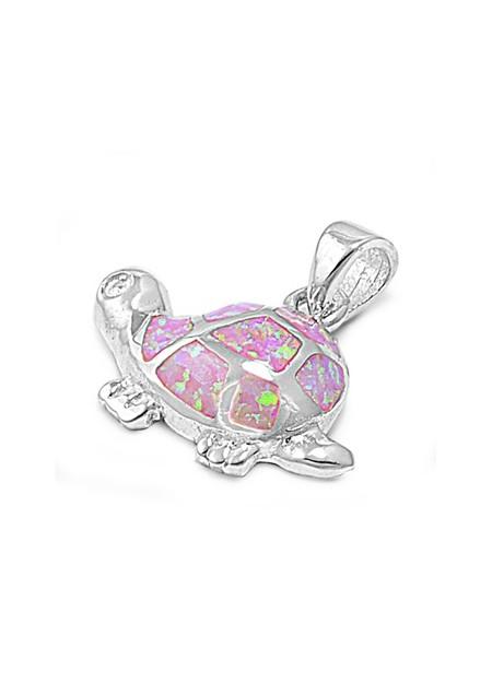 Pendentif Tortue de mer orné d'Opale rose en Argent 925