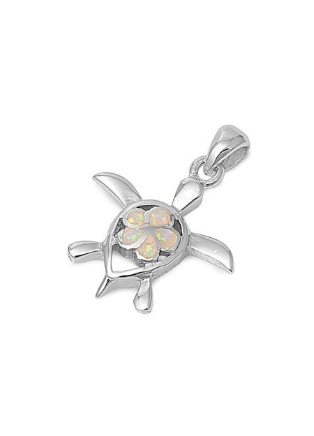 Pendentif Tortue de mer & Fleur orné d'Opale blanche en Argent 925