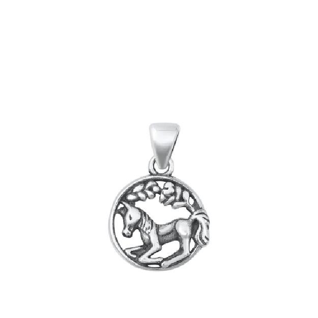 PENDENTIF mixte médaille cheval argent 925