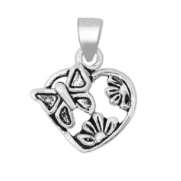 PENDENTIF mixte Cœur avec un Papillon et Fleurs argent 925