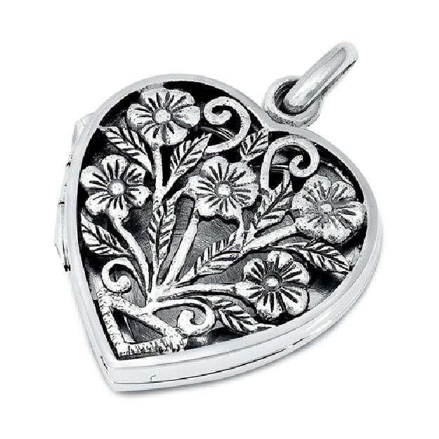 PENDENTIF Cœur avec Fleurs argent 925