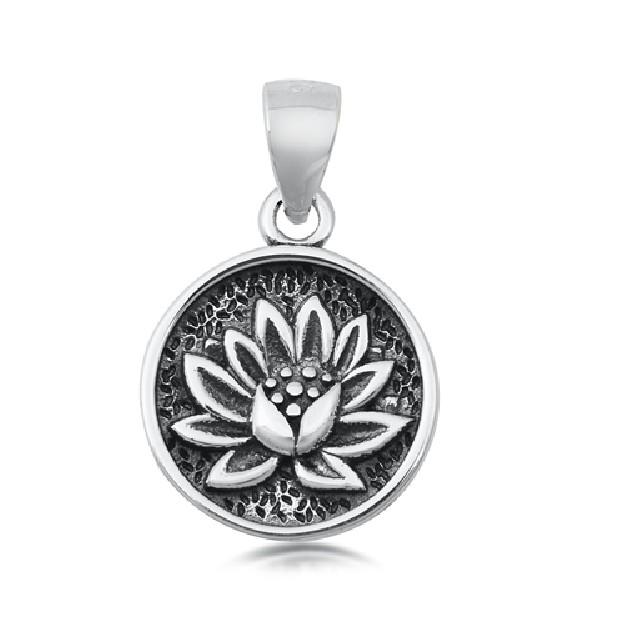 PENDENTIF mixte Médaillon rond Fleur de Lotus argent 925
