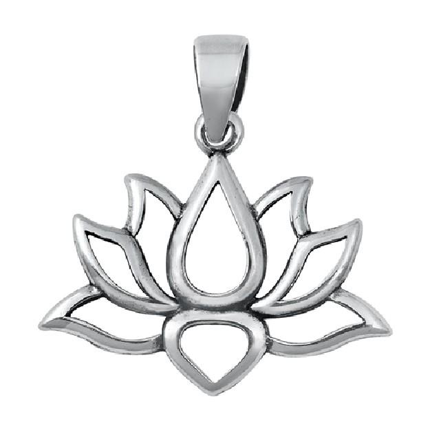 PENDENTIF mixte Fleur de Lotus argent 925