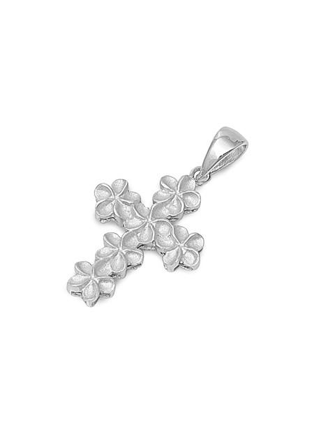 PENDENTIF mixte Croix avec Fleurs argent 925