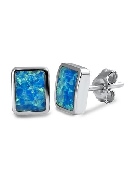 Boucles d'oreilles moderne ornées opale Bleue Argent 925