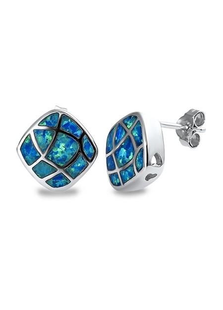Boucles d'oreilles Design moderne ornées opale Bleue Argent 925