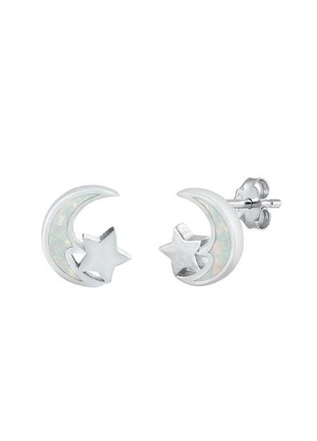 Boucles d'oreilles Lune & Soleil ornées opale Blanche Argent 925