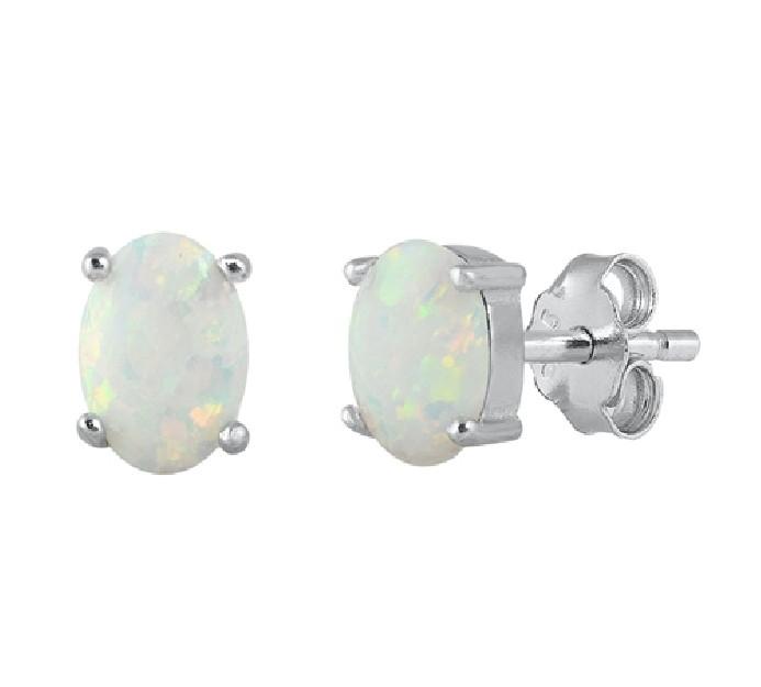 Boucles d'oreilles ornées opale Blanche  Argent 925