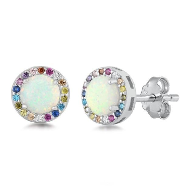 Boucles d'oreilles ornées opale & Zirconiums multi-couleurs Argent 925