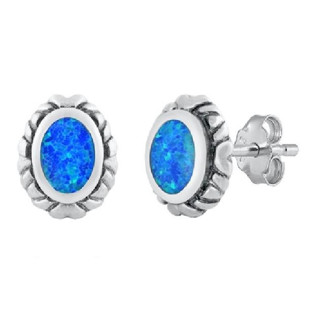 Boucles d'oreilles rétro Médaillon ornées opale Bleue Argent 925