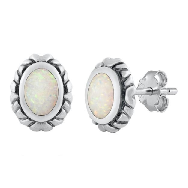 Boucles d'oreilles rétro Médaillon ornées opale Blanche Argent 925