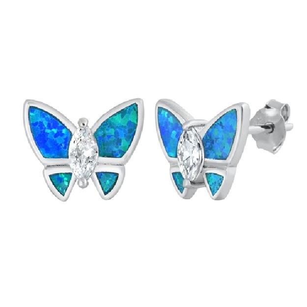 Boucles d'oreilles papillon ornées opale Bleue Argent 925