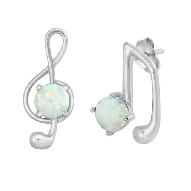 Boucles d'oreilles  ornées opale Bl Argent 925