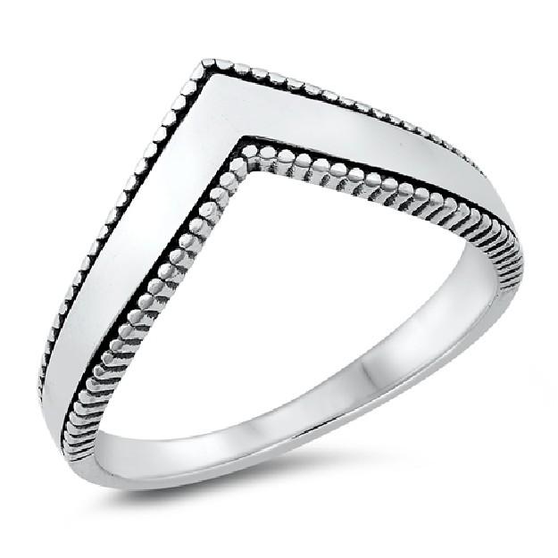 Bague en V Mode en Argent 925 décor perle - 8 MM