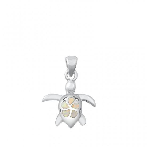 Pendentif Mixte Tortue orné d' Opale blanche Argent 925