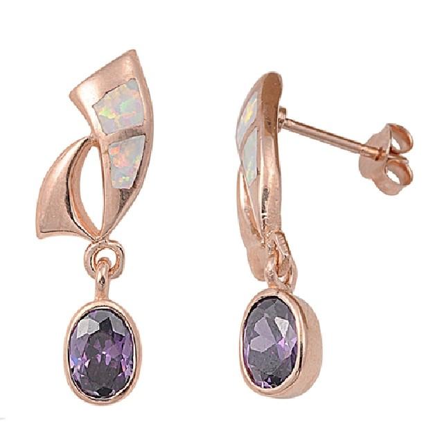 Boucles d'oreilles design ornées opale Blanche et d'Améthyste Argent 925