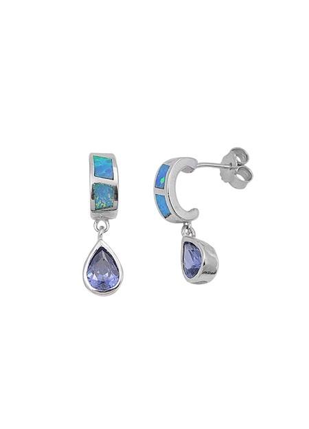 Boucles d'oreilles pendantes ornées opale Blanche Argent 925