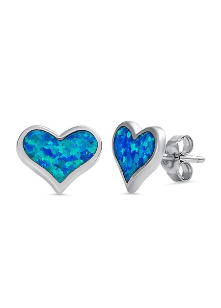 Boucles d'oreilles Infinity ornées opale Bleue Argent 925