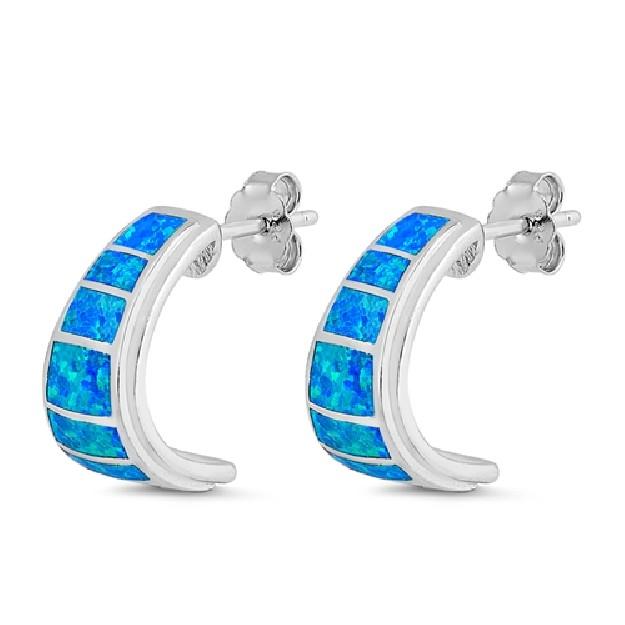 Boucles d'oreilles Infinity ornées opale Bleue & Zirconiums Argent 925