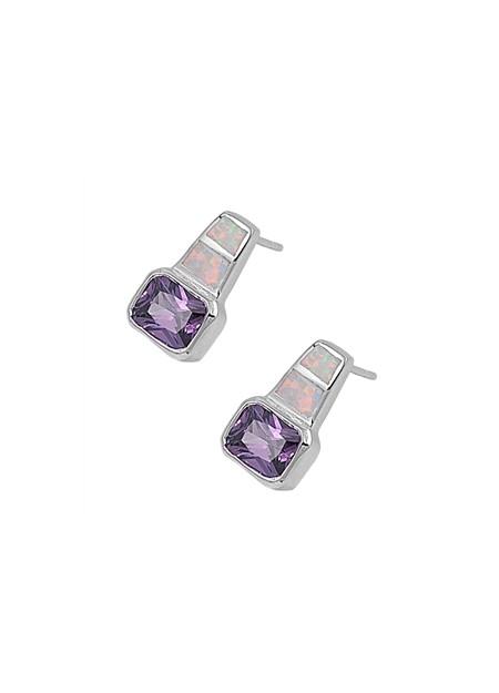 Boucles d'oreilles  ornées opale Bleue Argent 925