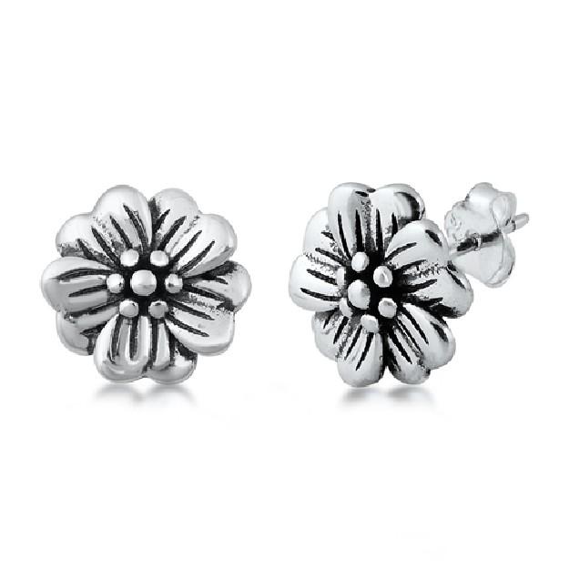 Boucles d'oreilles fleur en Argent 925
