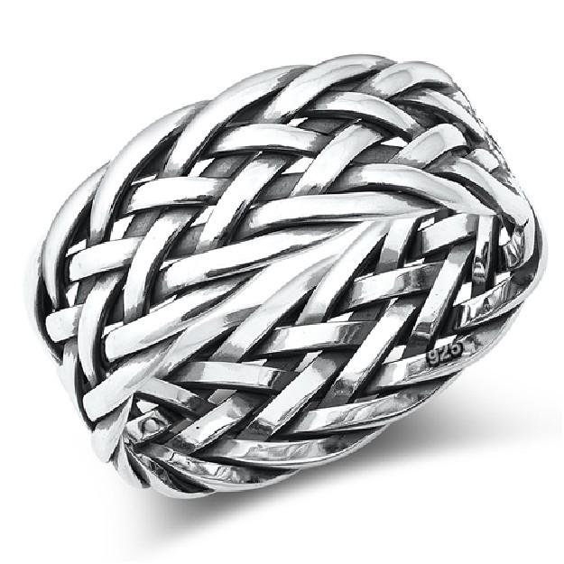 Bague anneau large tressée en Argent 925