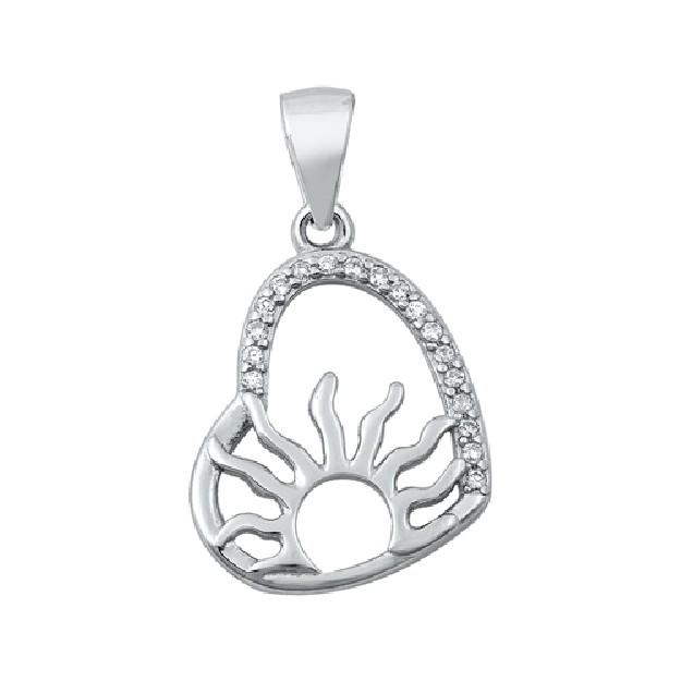 Pendentif Cœur & soleil argent 925 orné de zirconiums