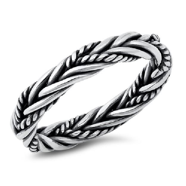 Bague anneau mixte tresse & cordage en Argent 925