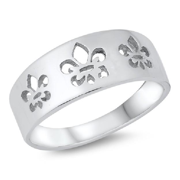 Bague anneau large Fleur de lys en Argent 925
