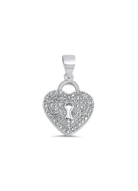 Pendentif Cœur & Cadenas argent 925 orné de zirconiums