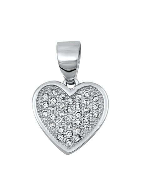 Pendentif Cœur argent 925 orné de zirconiums